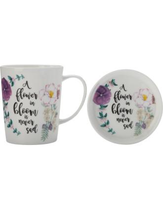 RBG 'Flower Bloom' Green Thumb Mug & Coaster