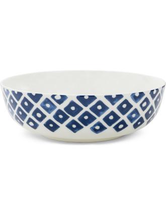Indigo Squares Bowl