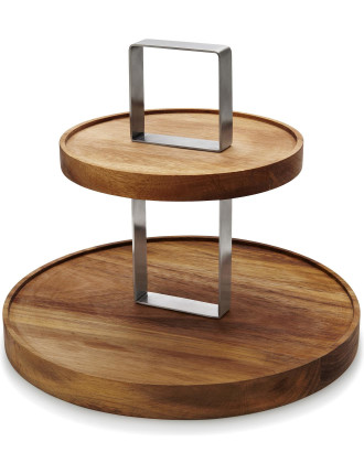 S&P Fromage 2 Tier Wooden Cake Stand