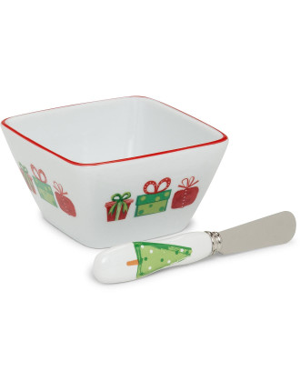 O' Xmas Tree Square Dip & Spreader Set