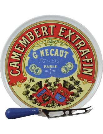 Classic Camembert Cheese Platter W Knife In Gift Box