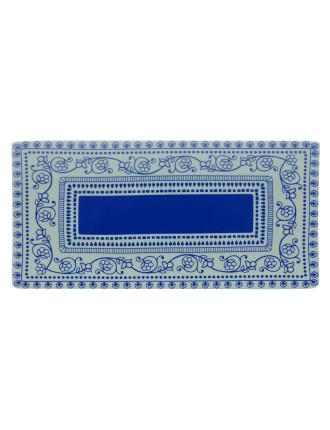 Blue Antico Rectangular Platter 38x18cm Gift Boxed