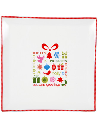 Christmas Message Square Present Platter 29cm