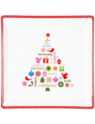 Christmas Message Square Tree Plate 15cm