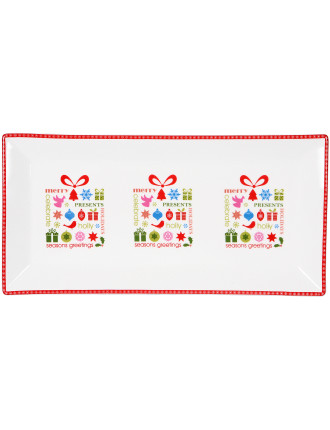 Christmas Message Sandwich Tray 30x15cm Presents