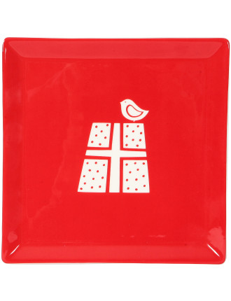 Christmas Forest Square Plate 15cm Red