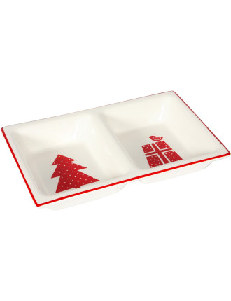 Christmas Forest Two Division Dish 24x15cm