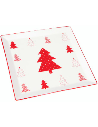 Christmas Forest Square Platter 29cm White
