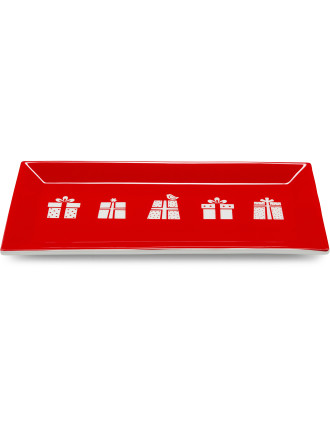 Christmas Forest Sandwich Plate 30x15cm Red