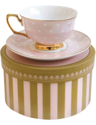 Blush & Ivory Polka Teacup & Saucer