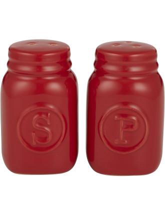 Mason Jar S&P Shakers Set of 2 Red