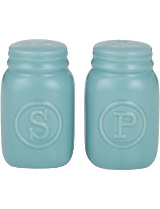 Mason Jar S&P Shakers Set of 2 Blue