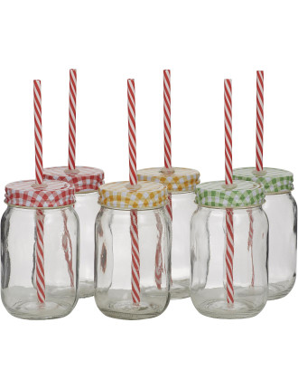 Jar Tumbler with lid&Straw Set of 6