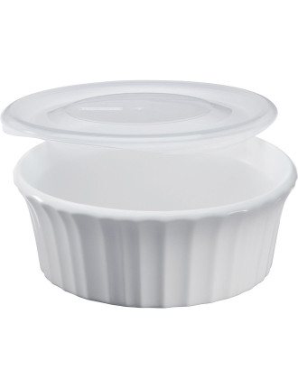 French White 473mL Round Baker with Lid
