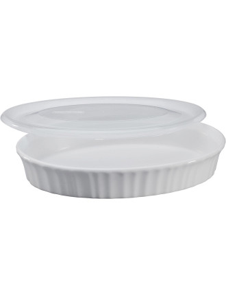 French White 798mL Oval Baker with Lid