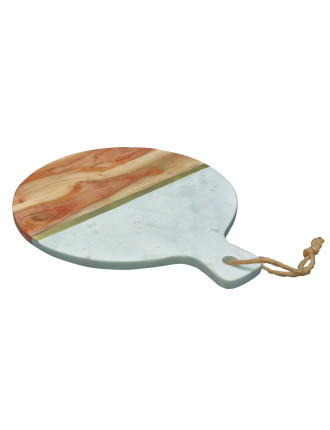Wood Round Paddle Serving Board With Brass Inlay
