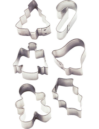 Holiday 6 piece Mini Metal Cookie Cutter Set