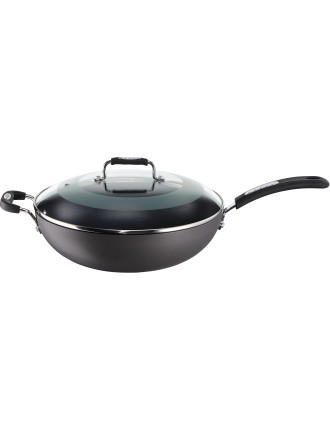 Tefal Hard Anodised Wok 32cm With Glass Lid