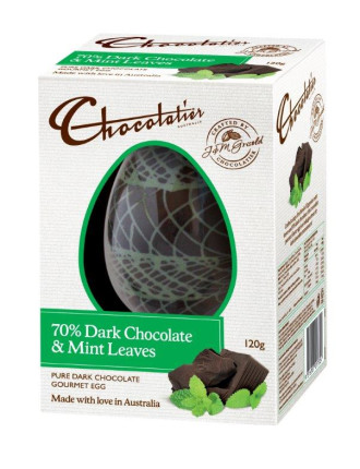 Dark Chocolate Egg with Mint Leaves 120g