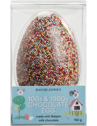 DAVID JONES FOOD MILK CHOCOLATE EGG WITH SPRINKLES 150G