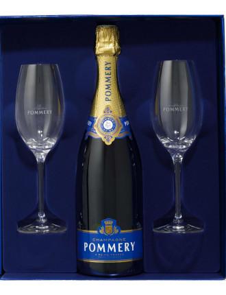 Pommery Brut Royal & 2 Flute Set