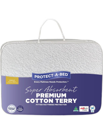 Premium Cotton Terry Fitted Mattress Protector Single