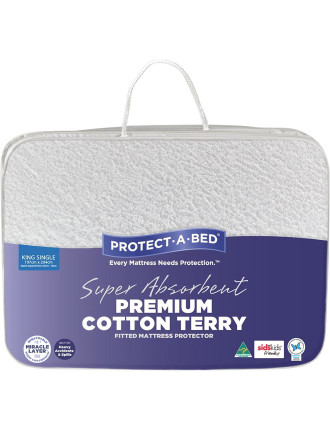 Premium Cotton Terry Fitted Mattress Protector King Single