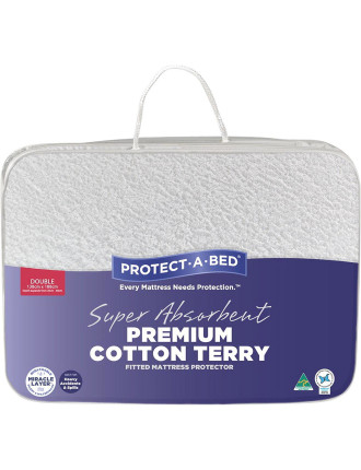 Premium Cotton Terry Fitted Mattress Protector Double