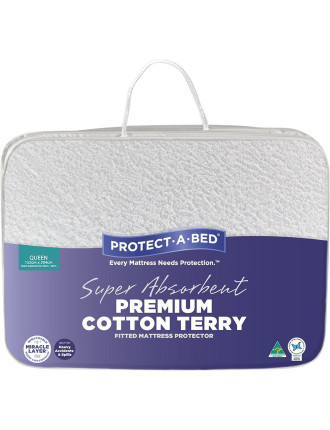 Premium Cotton Terry Fitted Mattress Protector Queen
