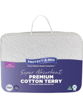Premium Cotton Terry Fitted Mattress Protector King
