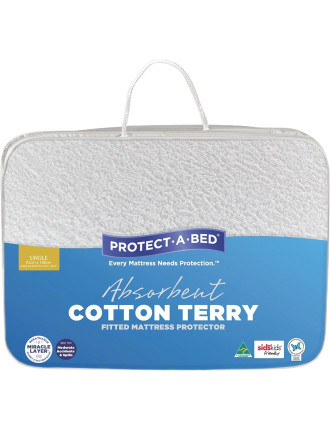Cotton Terry Fitted Mattress Protector Single
