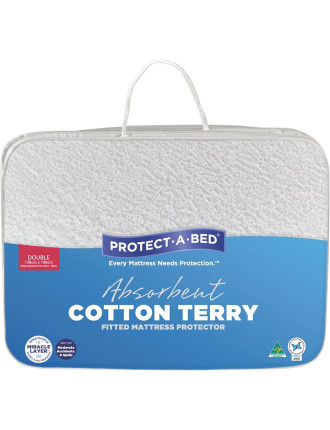 Cotton Terry Fitted Mattress Protector Double