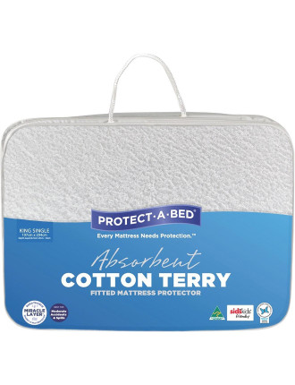 Cotton Terry Fitted Mattress Protector King Single