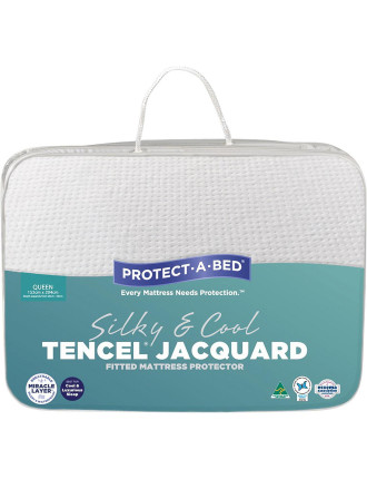 Tencel Jacquard Fitted Mattress Protector Queen