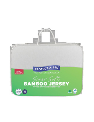 Bamboo Jersey Fitted Mattress Protector - Double