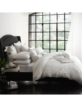 LEYLA IVORY QUILT COVER SET - SUPER KING BED