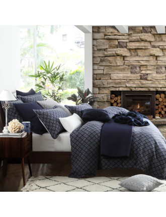 NORWOOD NAVY QUILT COVER SET - KING BED
