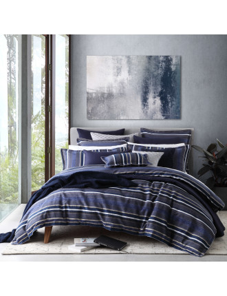PIERSON NAVY QUILT COVER SET - SUPER KING BED