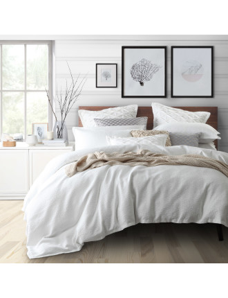 TRISTAN WHITE QUILT COVER SET - QUEEN BED