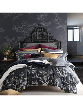 THE CRANES CHARCOAL QUILT COVER SET - QUEEN BED