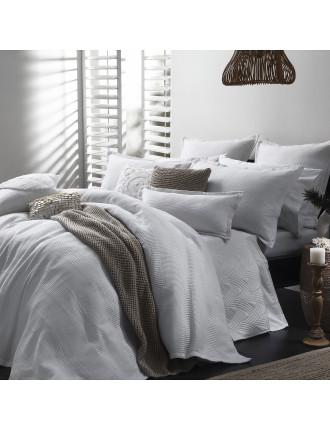 Manhatten White Queen Bed Quilt Cover Set