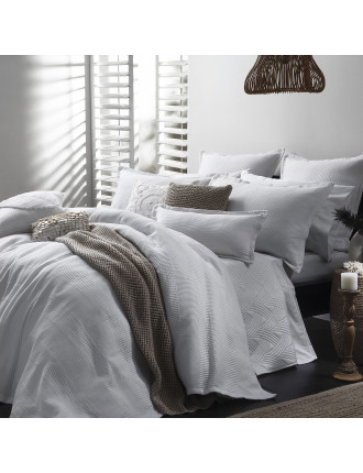 Manhatten White King Bed Quilt Cover Set