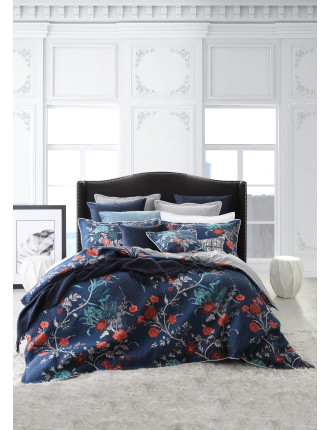 SPANISH FLORAL QUILTED KING QUILT COVER SET