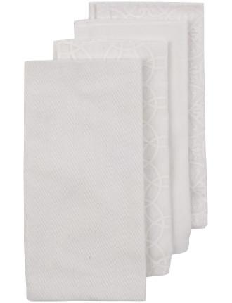 White Mix Print Napkins