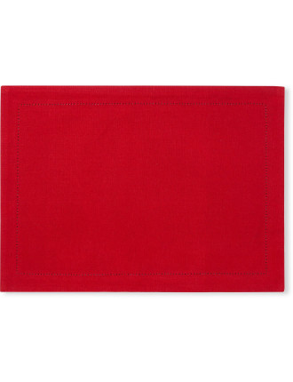 RED HEMSTICH PLACEMAT - SET 4