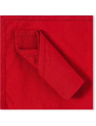 RED HEMSTICH NAPKIN - SET 4