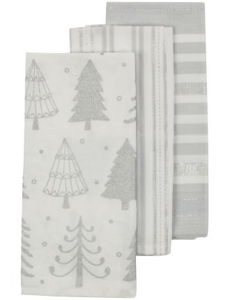 Sparkle Trees 3pk Tea Towel