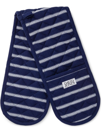 Butchers Stripe Double Oven Glove