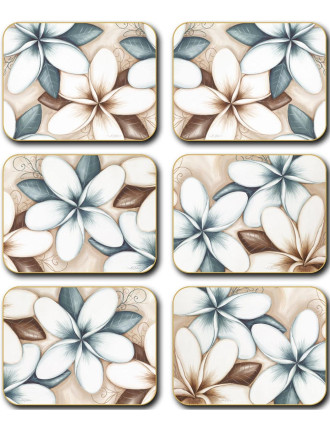 Ocean Frangipani Coasters set of six