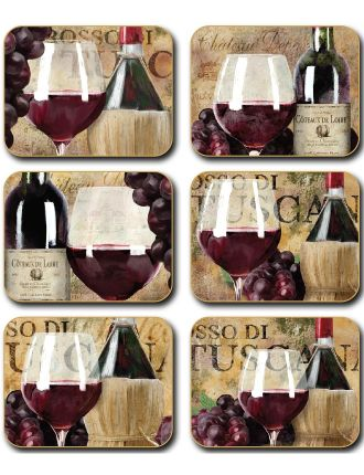 Old World Wine Coasters set of six